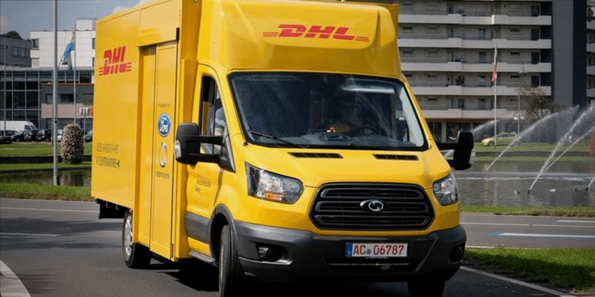 The Ford DHL electric delivery van.